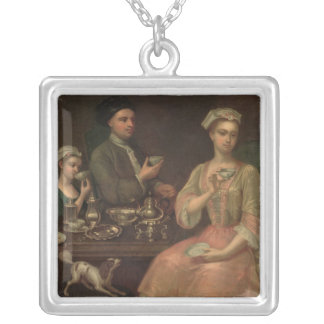 A Family of Three at Tea, c.1727 Square Pendant Necklace
