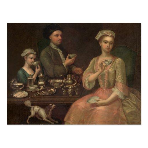 A Family of Three at Tea, c.1727 Postcard