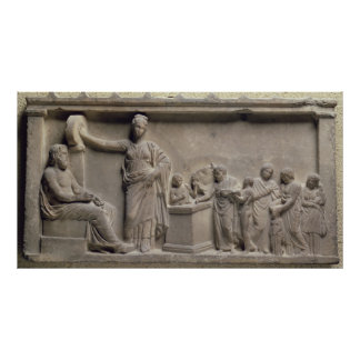 A family sacrificing a bull to Asclepius Poster