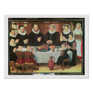 A Family Saying Grace Before the Meal, 1585 (oil o Poster