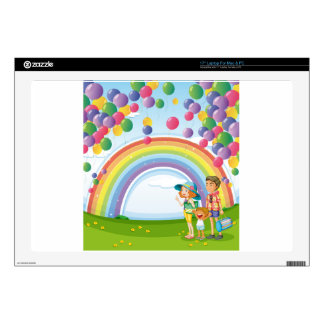 A family strolling with a rainbow and floating bal decal for laptop