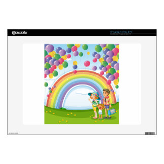 A family strolling with a rainbow and floating bal decals for laptops