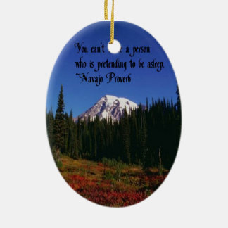 A Famous Navaho Quote Double-Sided Oval Ceramic Christmas Ornament