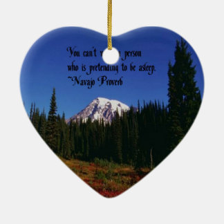 A Famous Navaho Quote Double-Sided Heart Ceramic Christmas Ornament