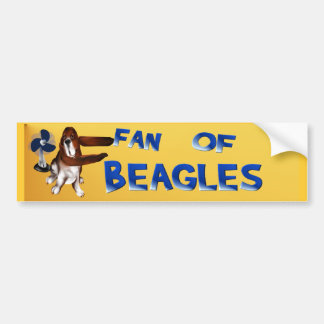 A Fan Of Beagles Bumper Sticker Car Bumper Sticker