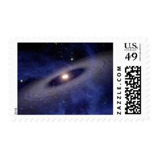 A faraway solar system postage stamp