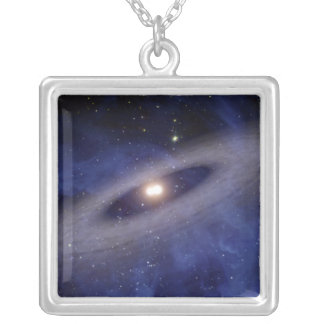 A faraway solar system square pendant necklace