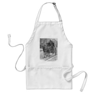 A Fare for a Hansom Cab Driver Adult Apron