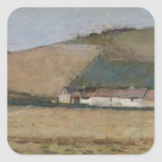A Farm Among Hills, Giverny, c.1887 Square Sticker