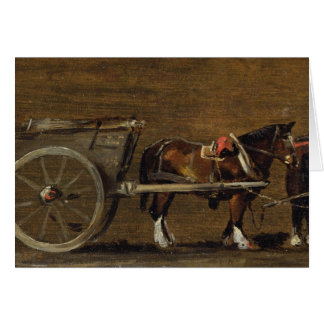 A Farm Cart with two Horses in Harness: A Study fo Card