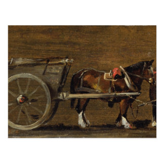 A Farm Cart with two Horses in Harness: A Study fo Postcard