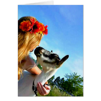 A Farm Girl And Her Goat - Blank Greeting Card