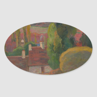 A Farm in Brittany - Paul Gauguin Oval Sticker