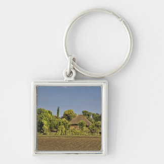 A farmed field in front of thatched roof houses keychains