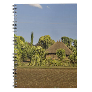 A farmed field in front of thatched roof houses notebook