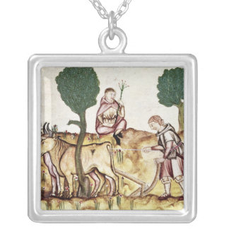 A farmer teaching his son to plough a field square pendant necklace