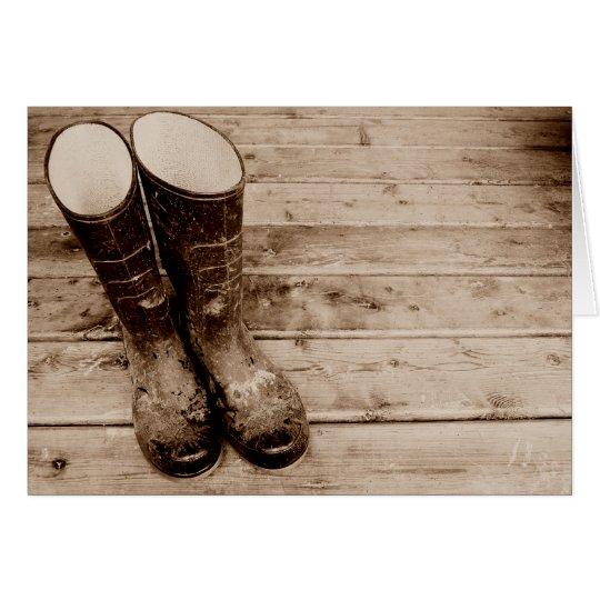 A Farmer's Muddy Rubber Boots Card