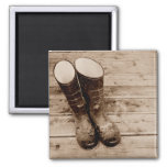 A Farmer's Muddy Rubber Boots Fridge Magnets
