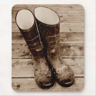 A Farmer's Muddy Rubber Boots Mousepad