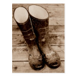 A Farmer's Muddy Rubber Boots Post Cards