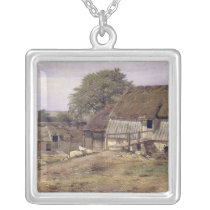 A Farmhouse in Sweden, 1834 Silver Plated Necklace