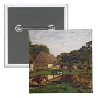A Farmyard in Normandy, c.1863 Pinback Button