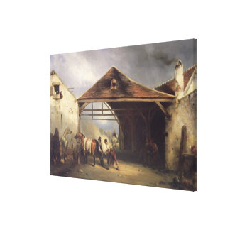 A Farrier shoeing a Horse Canvas Print