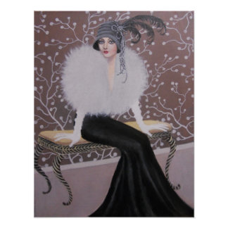 A FASHIONABLE ART DECO LADY POSTERS