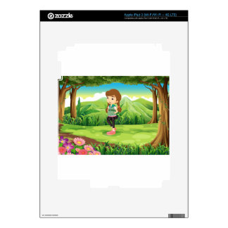 A fashionable young girl at the forest iPad 3 skin