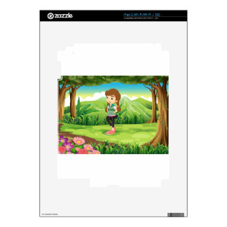 A fashionable young girl at the forest decal for the iPad 2