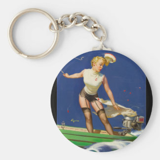 A Fast Takeoff Pin Up Art Keychain
