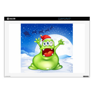 """A fat green monster wearing a red Santa hat 17"""" Laptop Decal"""