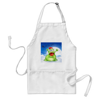 A fat green monster wearing a red Santa hat Adult Apron