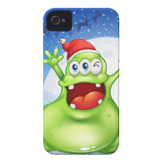 A fat green monster wearing a red Santa hat Case-Mate iPhone 4 Case