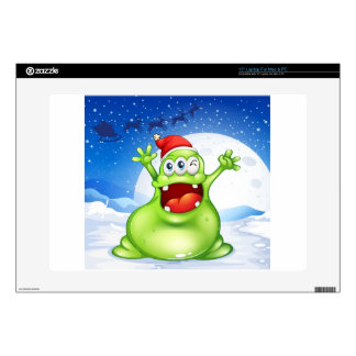 """A fat green monster wearing a red Santa hat Decal For 15"""" Laptop"""