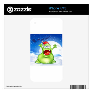 A fat green monster wearing a red Santa hat Decals For iPhone 4S