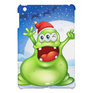 A fat green monster wearing a red Santa hat iPad Mini Case