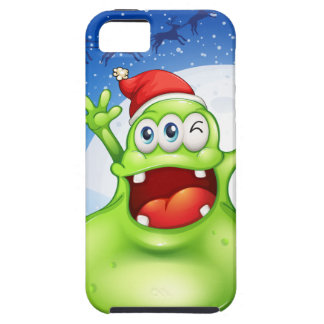 A fat green monster wearing a red Santa hat iPhone SE/5/5s Case