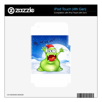 A fat green monster wearing a red Santa hat iPod Touch 4G Decal
