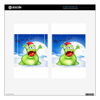 A fat green monster wearing a red Santa hat Kindle Fire Skins