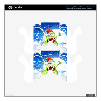 A fat green monster wearing a red Santa hat PS3 Controller Decal