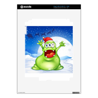 A fat green monster wearing a red Santa hat Skin For iPad 2