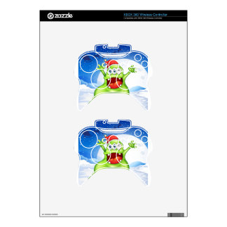 A fat green monster wearing a red Santa hat Xbox 360 Controller Decal