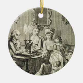 A Father Reading to his Family by Candlelight, eng Ceramic Ornament