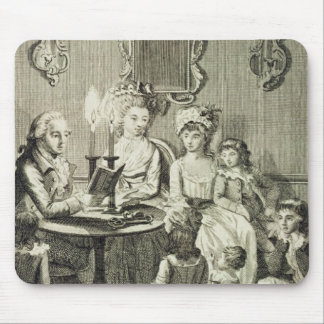 A Father Reading to his Family by Candlelight, eng Mouse Pads