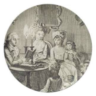 A Father Reading to his Family by Candlelight, eng Plate