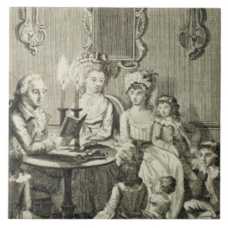 A Father Reading to his Family by Candlelight, eng Tile