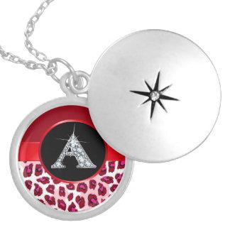 "A Faux-""Diamond Bling"" on Leopard Locket Necklace"