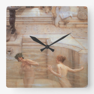 A Favorite Custom by Sir Lawrence Alma-Tadema Square Wall Clock