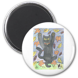 A Feeling Lucky Autumn Leaf Dance 2 Inch Round Magnet